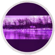 Winter Scene In Violet Round Beach Towel