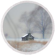 Winter Scene - Valley Forge Round Beach Towel