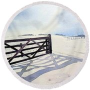 Winter Scene With Gate Round Beach Towel