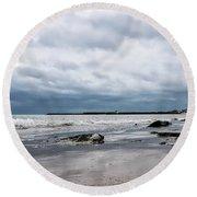 Winter Seascape 2 - Lyme Regis Round Beach Towel