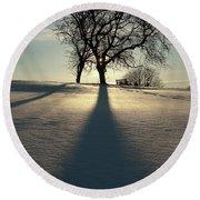 Winter Silhouette Round Beach Towel