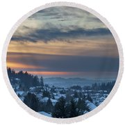 Winter Snow At Sunset In Happy Valley Oregon  Round Beach Towel