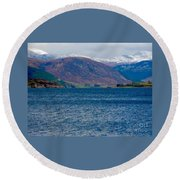 Winter Snow Caps At Loch Broom Round Beach Towel