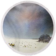 Winter Snow Swaledale Round Beach Towel
