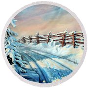 Winter Snow Tracks Round Beach Towel