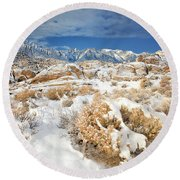 Winter Snowstorm Blankets The Alabama Hills California Round Beach Towel