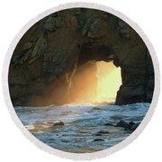 Winter Solstice Sunset In Big Sur Round Beach Towel