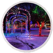 Winter Spirit At Locomotive Park Round Beach Towel