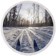 Winter Sport X-country Skis In Sunny Forest Tracks Round Beach Towel