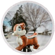 Winter Squirel Round Beach Towel