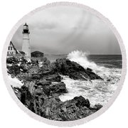 Winter Storm At Portland Head Round Beach Towel