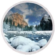 Winter Storm In Yosemite National Park Round Beach Towel