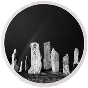 Winter Storm Sky Over Callanish. Outer Hebrides, Scotland.    Black And White Round Beach Towel
