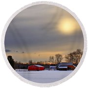 Winter Sun Round Beach Towel