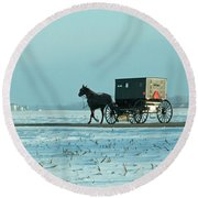 Winter Sun On Amish Buggy Round Beach Towel