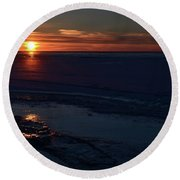 Winter Sunrise At Lake Simcoe  Round Beach Towel