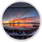 Winter Sunrise Round Beach Towel by Fiskr Larsen