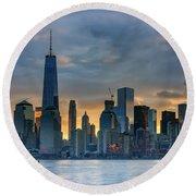 Winter Sunrise New York City Round Beach Towel