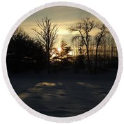 Winter Sunrise Shadows Round Beach Towel