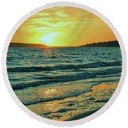 Winter Sunset At Wellfleet Harbor Round Beach Towel