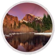 Winter Sunset Lights Up Half Dome Yosemite National Park Round Beach Towel