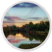 Winter Sunset On The Slough Round Beach Towel