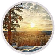 Winter Sunset Over The Mountains Round Beach Towel