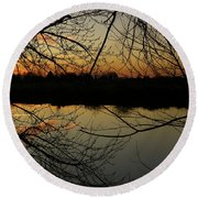Winter Sunset Reflection Round Beach Towel