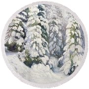 Winter Tale Round Beach Towel by Aleksandr Alekseevich Borisov