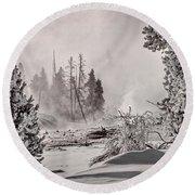 Winter Thermal Steam - Yellowstone Round Beach Towel