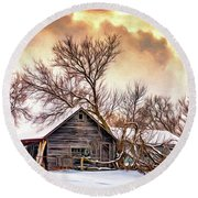 Winter Thoughts 2 - Paint Round Beach Towel