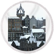 Winter Townscape Scotland Round Beach Towel