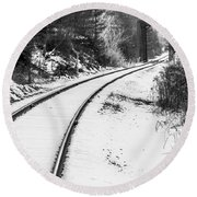 Winter Tracks Round Beach Towel