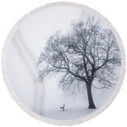 Winter Tree And Bench In Fog Round Beach Towel