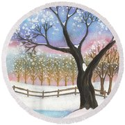 Winter Tree Landscape Round Beach Towel