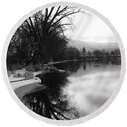 Winter Tree Reflection - Black And White Round Beach Towel