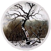 Winter Tree Stainland Round Beach Towel
