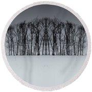 Winter Tree Symmetry Long Horizontal Round Beach Towel