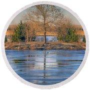 Winter Tree - Walnut Creek Lake Round Beach Towel