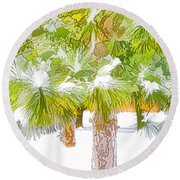 Winter Trees 1 Round Beach Towel