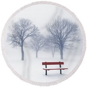 Winter Trees And Bench In Fog Round Beach Towel by Elena Elisseeva