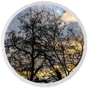 Winter Trees At Sunset Round Beach Towel