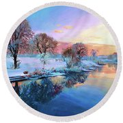 Winter Trees Round Beach Towel