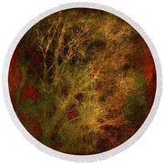 Winter Trees In Gold And Red Round Beach Towel