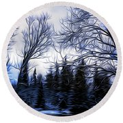 Winter Trees In Sweden Round Beach Towel