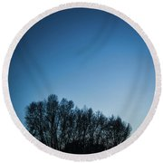 Winter Trees On The Background Of The Night Sky Round Beach Towel