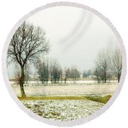 Winter Trees Round Beach Towel by Silvia Ganora