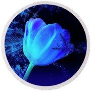 Winter Tulip Blue Theme 2 Round Beach Towel