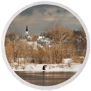 Winter View Of Allenstown Round Beach Towel