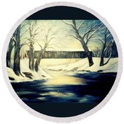 Winter Walk At Bennett's Mill Bridge Round Beach Towel